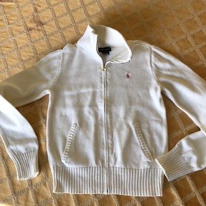 White cotton cardigan. Ralph Lauren